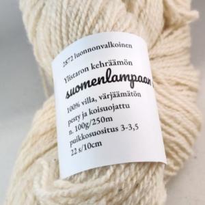 Suomenlampaan villa -vyyhti luonnonvalkoinen